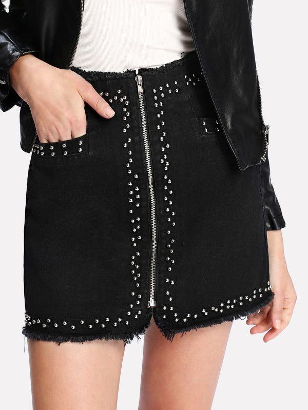 Zip Up Raw Edge Studded Denim Skirt -SheIn(Sheinside)