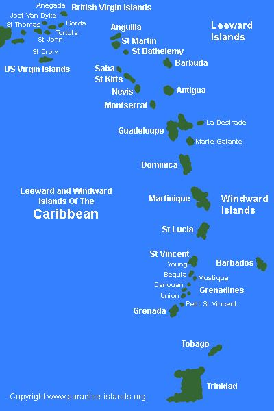 Leeward and Windword Islands of the Caribean