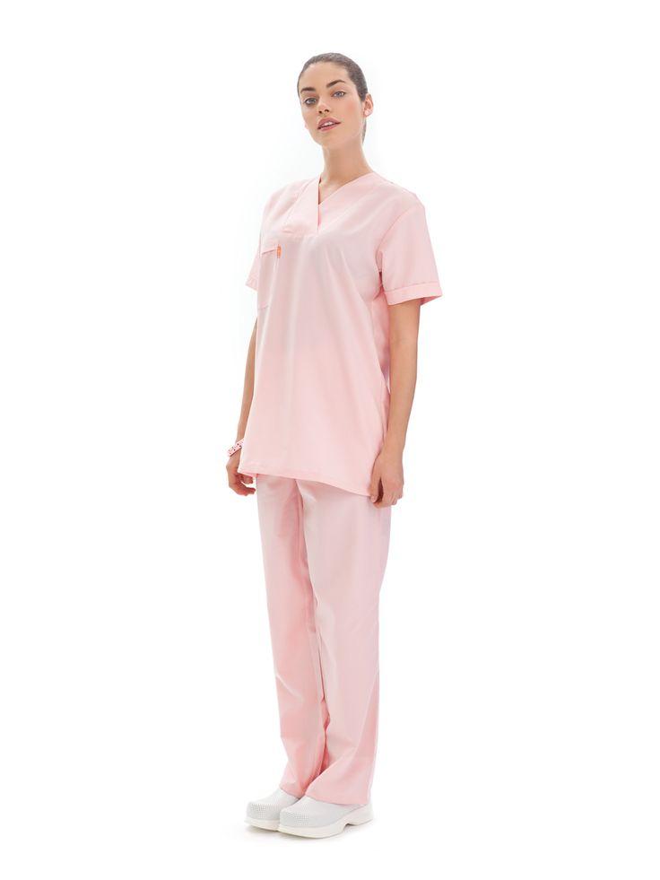 Zeige Details für Damen OP-Anzug:       Kasack V-Ausschnitt     1/2 Arm     Brusttasche auf der Rechten Seite     Hose mit Gummibund     Mit Seitentaschen  Stoff: Alpaka (65% Polyester, 35% Viskose)