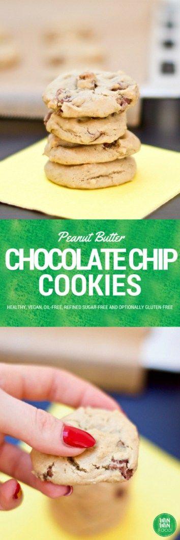 Healthy Peanut Butter Chocolate Chip Cookies | WIN-WIN FOOD.com #healthy #vegan #glutenfree #oilfree