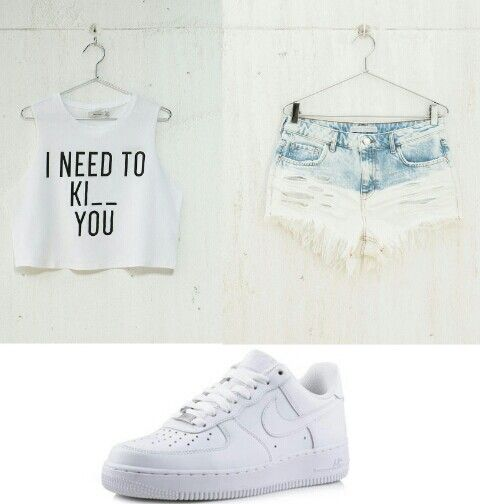 I need to ki__ you crop top,ombre shorts,nike airforce #outfit