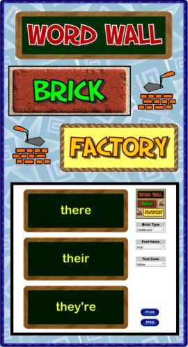 Word Wall Brick Factory is software which allows teachers and students to create decorative bricks for word walls. Give your bulletin boards a professional look by choosing from 32 brick types, 10 fonts and 16 font colors. Visit the computer lab and let your students create bricks displaying hard to spell words and subject matter vocabulary. Completed brick pages can either be printed or saved as jpeg images to be inserted into digital content. No copyright limitations! (PC & Mac) ($)