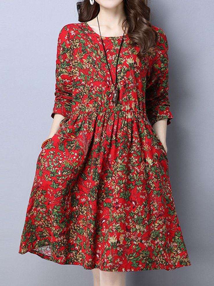 Ženy Kvetinové Tlačené vysokým pásom s dlhým rukávom Klasické Šaty