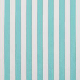 Riscas espessas em azul água, alinham verticalmente o estampado tornando-o ideal para um ambiente tranquilo e relaxante. Perfeito em cortinados e estores, almofadas e ainda exterior.