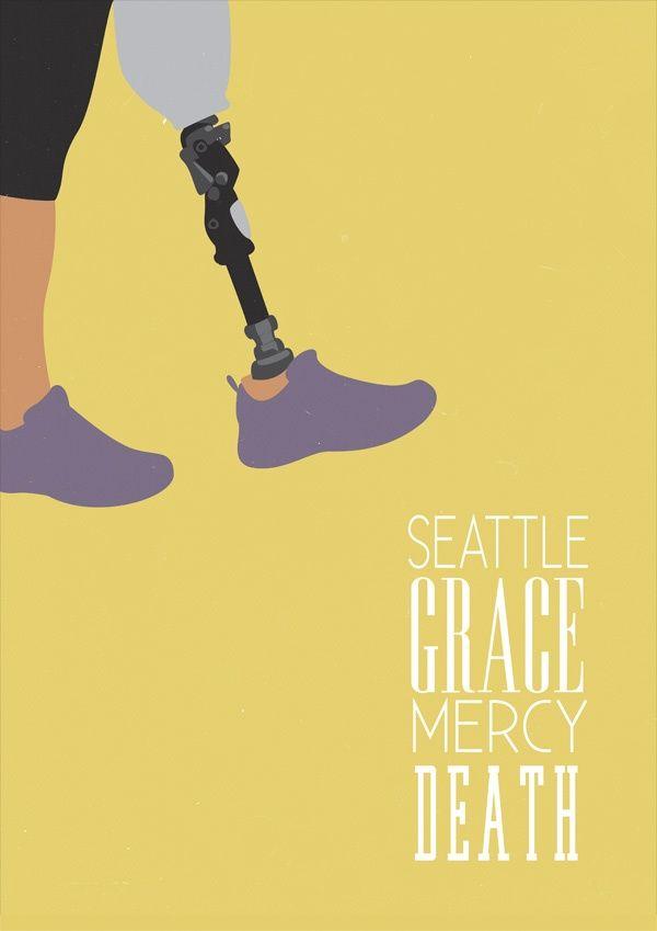 Seattle Grace Mercy Death Minimalist Tv Serie Poster Design Show ( Grey's Anatomy)