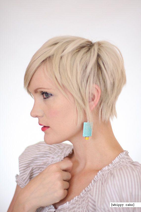Blue Blitz Earrings By Whippycake On Etsy 15 00 Long Pixie Hairstylesshort