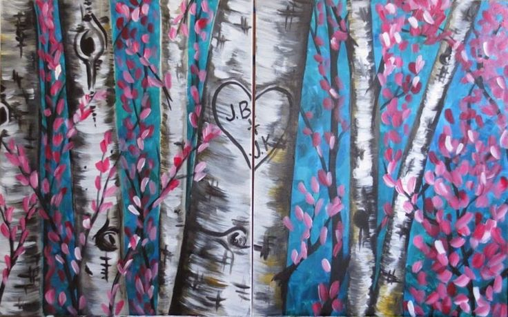 """""""Love Is In The Trees"""" - Such a fun date night painting to create with your sweetheart!"""