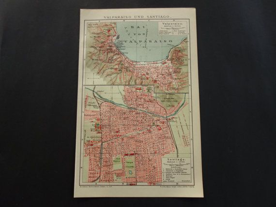VALPARAISO SANTIAGO map 1911 original antique by VintageOldMaps