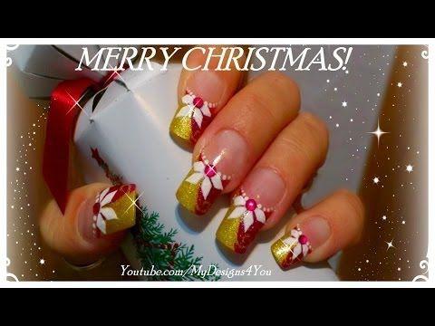 Christmas Nail Art   Poinsettia Nails ♥ Рождественский Дизайн Ногтей - YouTube
