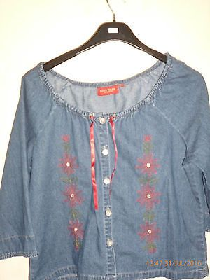 River island  denim embroidered Aztec boho hippy gypsy bardot  top large