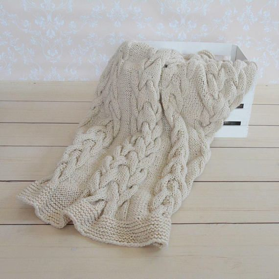 Hand made knit blanketknitted throwknitted blanketchunky