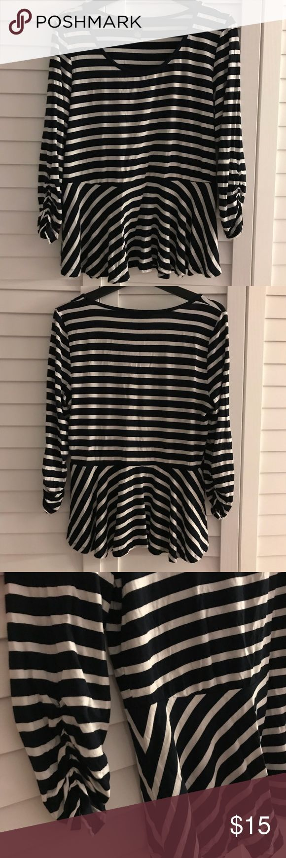 🆕‼️Like New INC Black & White Stipe Peplum Top Stretchy, soft black & white peplum top with 3/4 length gathered sleeves.   Excellent like new condition.  Please let me know if you have any questions!  [smoke-free/pet-friendly home] INC International Concepts Tops Tees - Long Sleeve