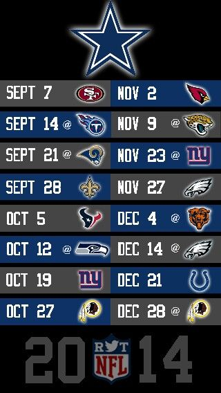 NFL 2014 DALLAS COWBOYS IPHONE 5 WALLPAPER SCHEDULE