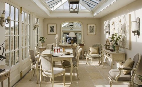 french white dining: White Dining, Living Rooms, French Country Sun Rooms,  Eateri, Sunny Dining, French White, Dining Rooms Design, Country Conservatory, Sunroom