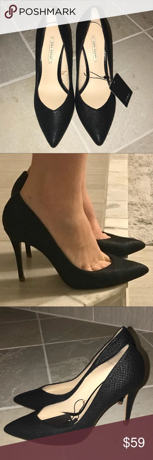"""NEW Zara snakeskin textured matte black pumps Brand new and never worn. Signs of wear to bottom of shoe from trying on in the store. Textured snake skin women's heels in size 8. Matte black. These are a true size 8. I typically wear a 8-8.5 in heels and these are a bit snug on me. About a 4"""" heel but seem comfortable enough to wear to work or a night out. Photos taken with and without flash to show texture Tags: free people Anthropologie ASOS lulus missguided agaci Zara river island wild fox…"""
