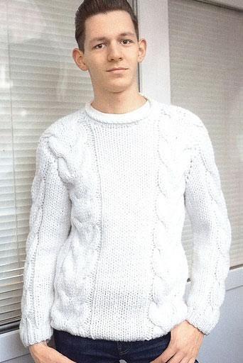 Вязание белого свитера для мужчины