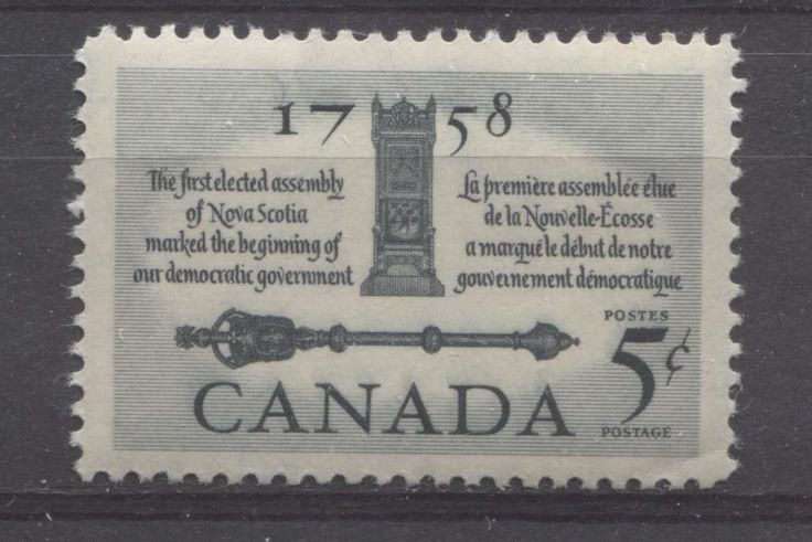 This stamp commemorates Canada's first elected assembly, which was in Nova Scotia.