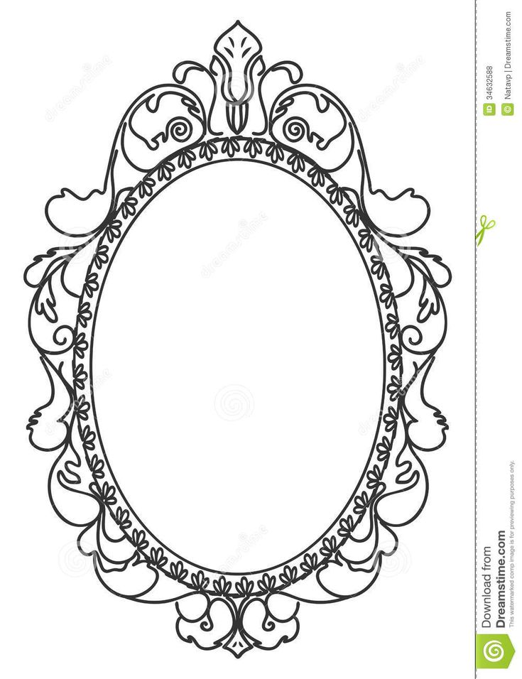 Vintage oval frames vector pesquisa google artesanato for Mirror drawing