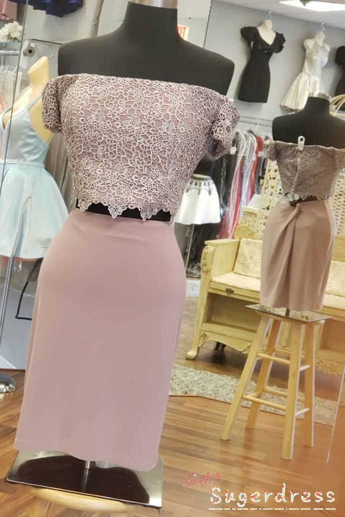 Two Piece Off the Shoulder Lace Top Homecoming – WOW Event Planning