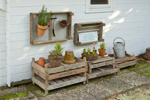 Flower Bulb Box Wooden Crate Wire Crate Garden Pallet Outdoor