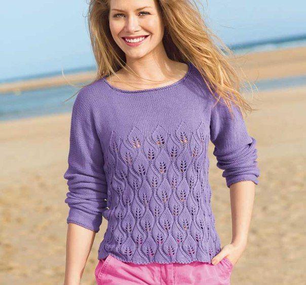 Вязаный пуловер узором из литсиков