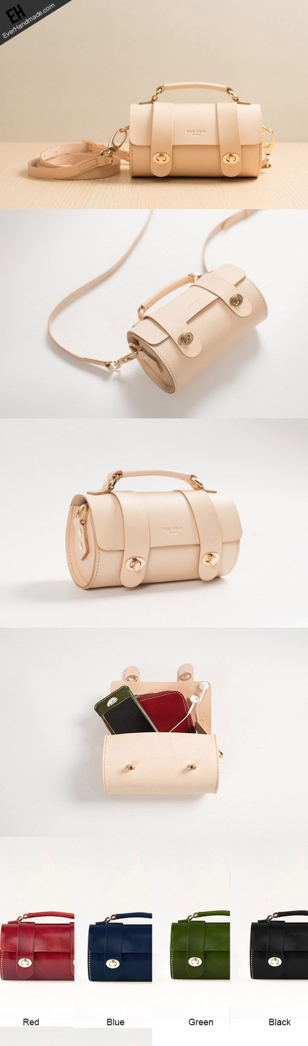 Handmade women shoulder leather bag crossbody phone bag small bag bucket bag