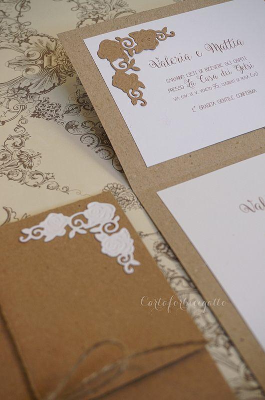 Romantic Shabby Chic Wedding Invitations - Romantiche Partecipazioni Nozze Shabby CHic | da CartaForbiciGatto
