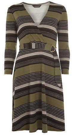 Dorothy Perkins I **Tall Stripe D-ring Wrap Dress