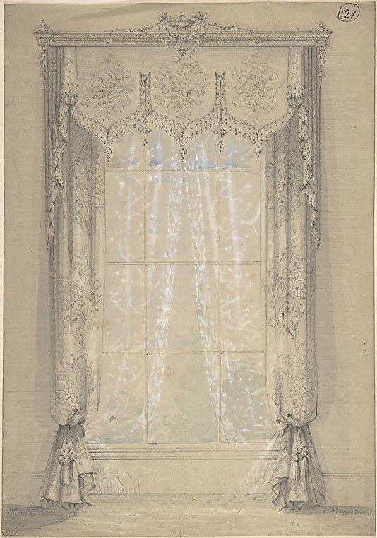 Victorian design for drapery panels & valance