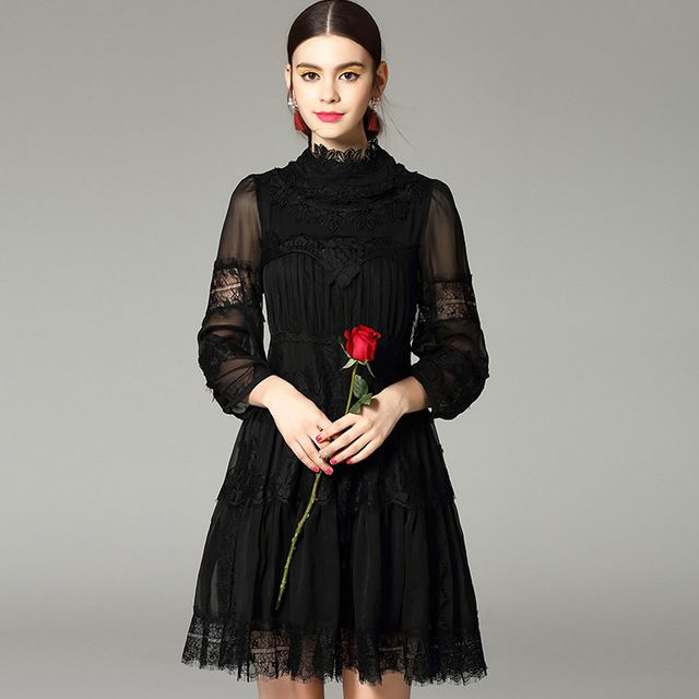 high quality 2016 spring new women stand collar lantern sleeve elegant black lace dress CH129 US $60.80 /piece CLICK LINK TO BUY THE PRODUCT  http://goo.gl/oYWEYs
