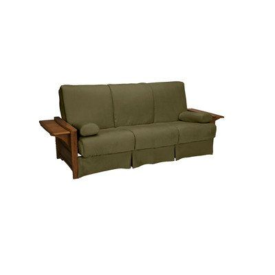 Valet Perfect Sit and Sleep Futon and Mattress Upholstery: Suede - Olive Green, Size: Queen, Finish: Walnut - http://delanico.com/futons/valet-perfect-sit-and-sleep-futon-and-mattress-upholstery-suede-olive-green-size-queen-finish-walnut-659776334/