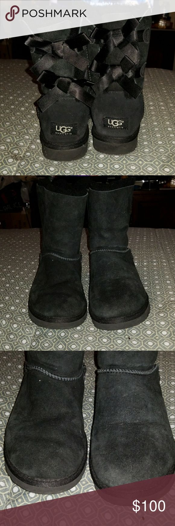Used black Ugg boots Used black Ugg boots all stain and scratches shown in pictures / No box UGG Shoes Ankle Boots & Booties