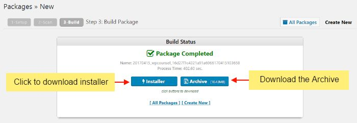 Package created. Download installer and package.