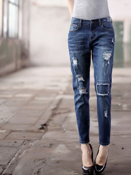 Washed-silk Denim Straight Leg pants