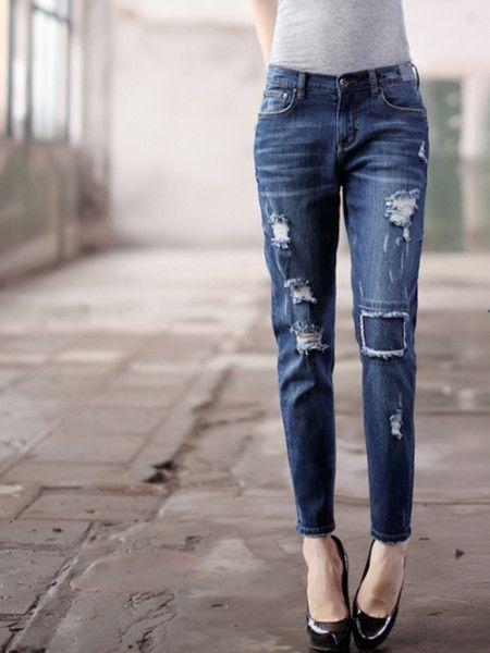 Washed-silk Denim Straight Leg pants