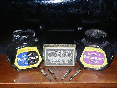 Lot-de-2-Encriers-Waterman-1-Boite-de-Plume-Blanzy-Poure-et-Cie