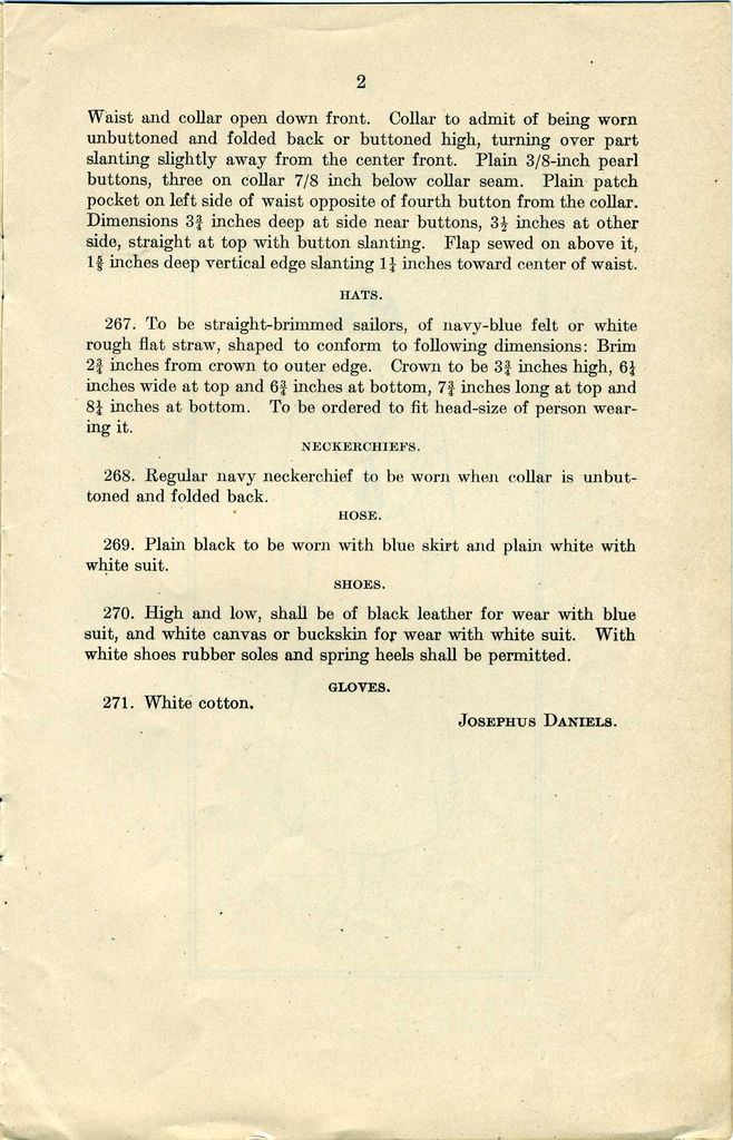 US Navy Reserve Force, Yeoman F, Uniform Regulations. WWI  Page 2   Collection of Curator Branch Naval History and Heritage Command Collection of Navy  Department Library.