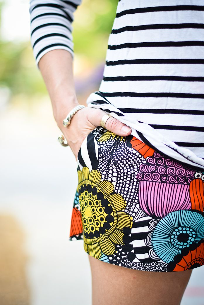 Mix It Up - love this combination of bright patterned shorts with striped top Marimekko Finland