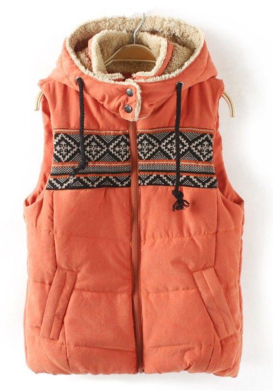 Orange Patchwork Print Hooded Band Collar Cotton Vest