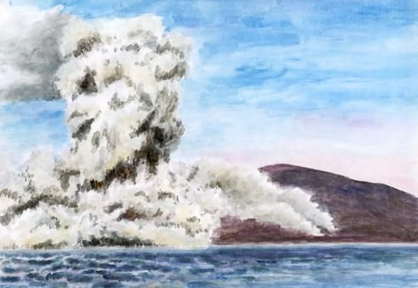Surtsey, watercolor by Jana Haasová