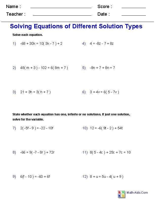 Solving Single Variable Equations Worksheets   Algebra ...