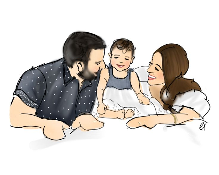 Custom Family Portrait Watercolor Art by Chelsdrawsyou Digital Artist