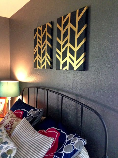 Wall art! Easy DIY steps for these metallic and navy canvases.