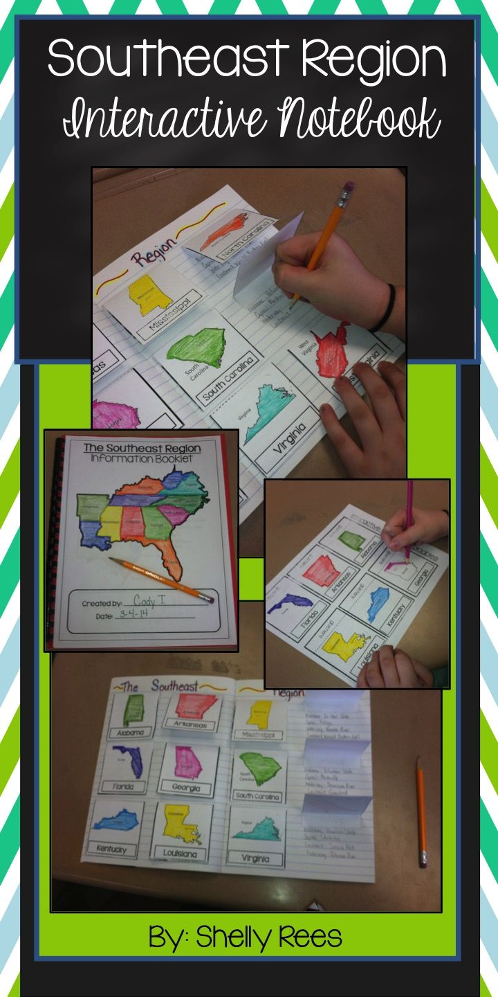 Southeast Region - US Regions - Interactive Notebook Resource Unit. Includes fun foldables, map booklet, memory match game, unit quiz and test, and bulletin board set. LOVE this! Grades 3-6