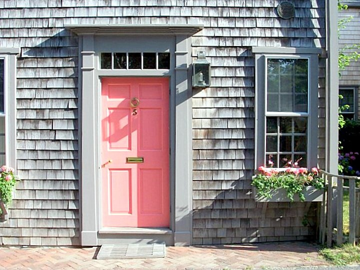 Nantucket house with gorgeous weathered gray cedar shakes!  {oh, and a very...pink...door}