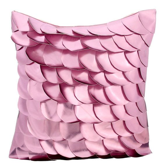 Pink Mermaid - 16 x 16 Pink Textured Faux Leather Pillow.