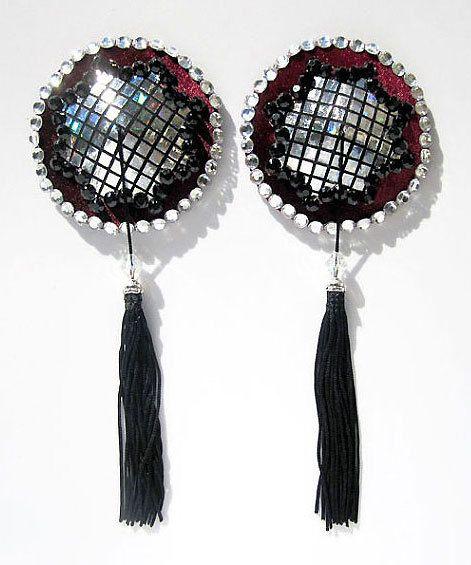 Tokyo Dome burlesque pasties Burgundy or black velvet nipple