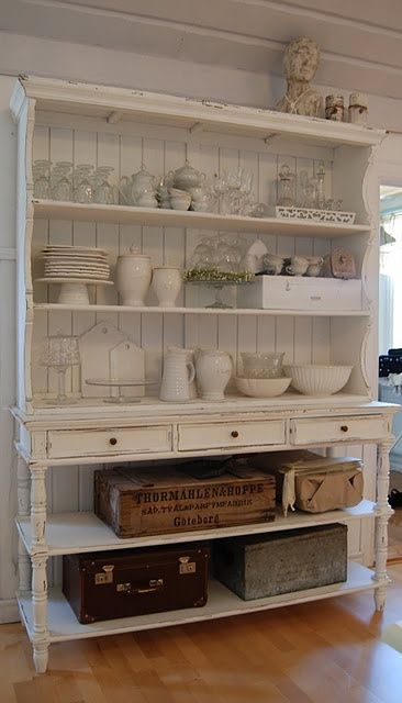 "Open Hutch. White. Shabby. ..... could be done with an old dresser/drawers removed for the base and a simple handmade ""hutch"" for the top. Use bead board [probably only one pkg required] for backing the top"