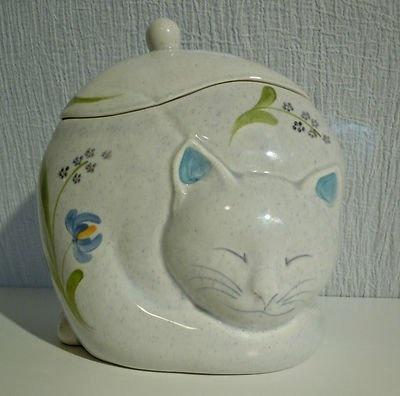 Vintage Gustin Pottery Sleeping Cat Cookie Jar