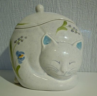 Vintage Gustin Pottery Sleeping Cat Cookie Jar